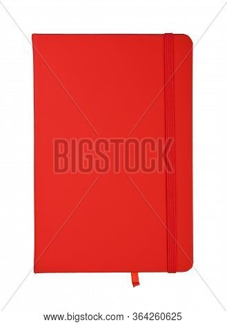 Closed Scarlet Red Faux Leather Cover Notebook Isolated On White Background, Flat Lay, Directly Abov