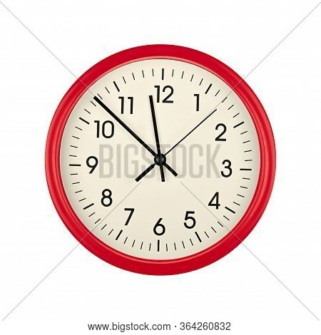 Close Up Red Wall Clock Face Dial With Arabic Numerals, Hour, Minute And Second Hands Isolated On Wh