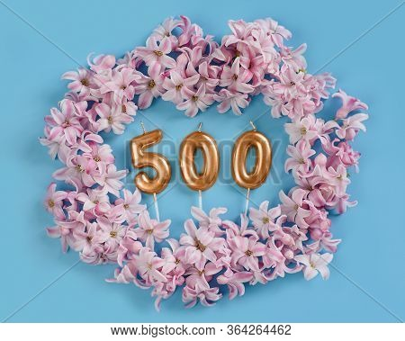 500 Followers Card. Template For Social Networks, Blogs. Background With Pink Flower Petals. Social