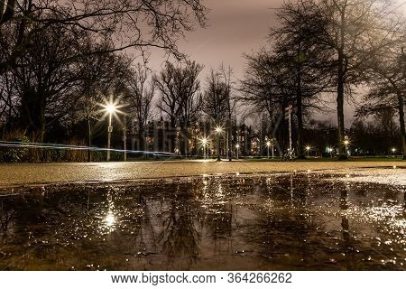 Night Lights Of Park And Biclycles In Amsterdan, Nederlands