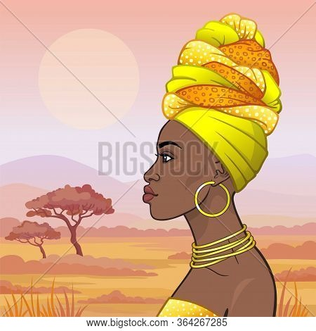 Animation Portrait Of The Young Beautiful African Woman In Ancient Clothes And Jewelry. Profile View
