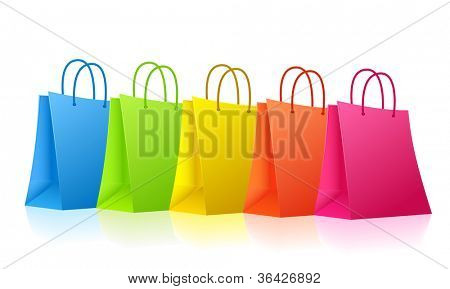 Vector colorful shopping bags  - raster version
