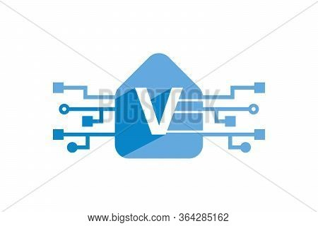 Advance Technology Logo With Letter V Isolated With White Background. Letter V Logo Design Template