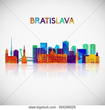 Bratislava Skyline Silhouette In Colorful Geometric Style. Symbol For Your Design. Vector Illustrati