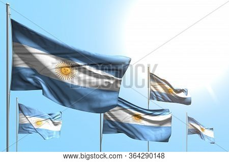 Pretty 5 Flags Of Argentina Are Wave On Blue Sky Background - Any Celebration Flag 3d Illustration