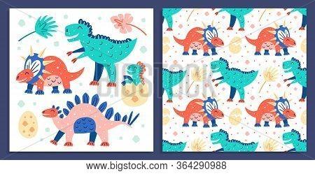Set Of Little Cute Dinosaurs. Triceratops, T-rex, Diplodocus, Pteranodon. Postcard. Prehistoric Anim