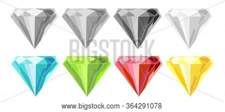 Gems. Vector Jewels Or Precious Diamonds Gem Set. Diamond Or Brilliants Icons Set. Colorful And Mono
