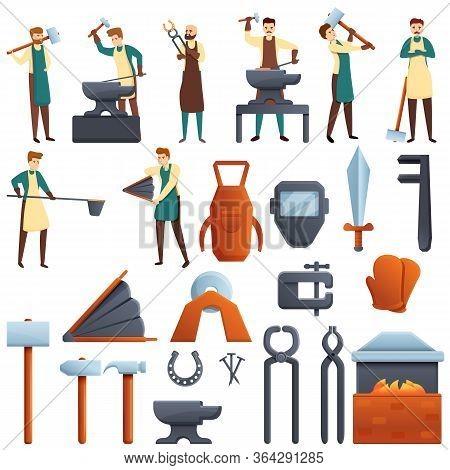 Blacksmith Icons Set. Cartoon Set Of Blacksmith Vector Icons For Web Design