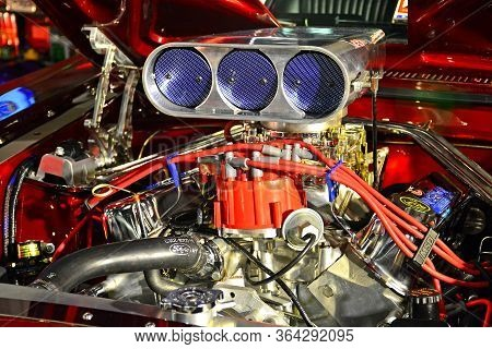 Pasay, Ph - May 19 - Ford Mustang Motor Engine At Trans Sport Show On May 19, 2018 In Pasay, Philipp