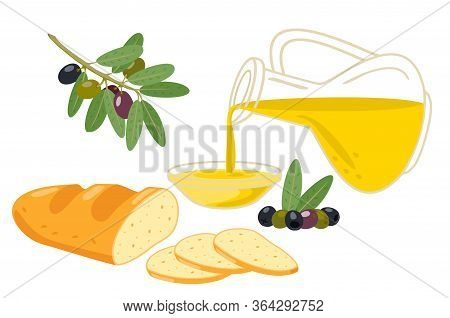 Jug Of Olive Oil, Olives, Olive Branches And White Bread. Healthy Food. Isolated Vector Illustration