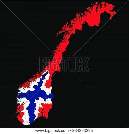 Vector Map Of Administrative Regions Of Norway In Colors Of Norwegian National Flag With Black Backg