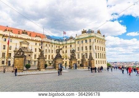 Prague, Czech Republic, May 13, 2019: Matthias Gate Of New Royal Palace Novy Kralovsky Palac With St