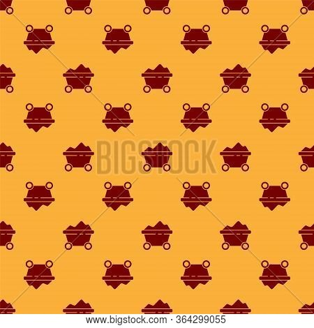 Red Coal Mine Trolley Icon Isolated Seamless Pattern On Brown Background. Factory Coal Mine Trolley.