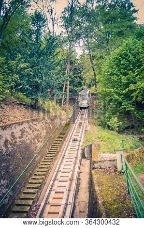Karlovy Vary, Czech Republic, May 10, 2019: Funicular Rails On Slope Of Hill To Diana Observation Lo