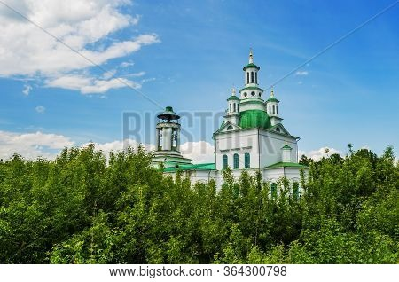 Alapayevsk, Russia - June 15, 2017: Holy Trinity Orthodox Cathedral Sunny Summer Day, Russia, Ural,