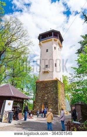 Karlovy Vary, Czech Republic, May 9, 2019: Diana Observation Tower Rozhledna Diana In Slavkov Forest
