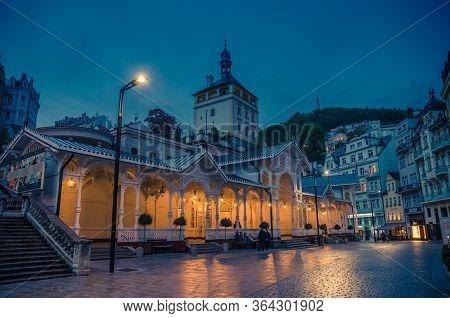 Karlovy Vary, Czech Republic, May 11, 2019: The Market Colonnade Trzni Kolonada Wooden Colonnade Wit
