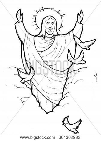 Calm Jesus With Lamb In The Background - Illustration