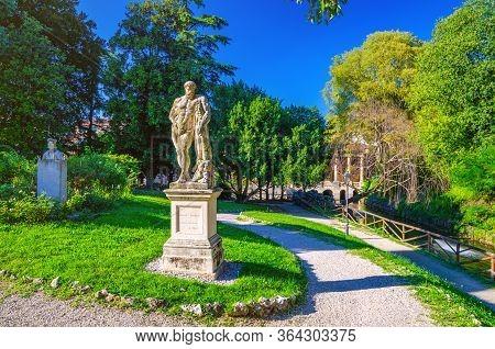 Vicenza, Italy, September 12, 2019: Farnese Hercules Ercole Farnese Ancient Statue Of Hercules In Sa