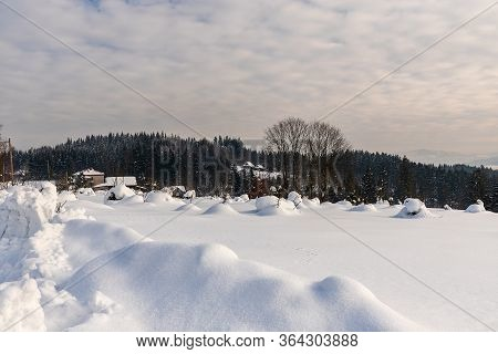 Winter Scenery With Few Isolated Houses, Hill Covered By Forest And Lot Of Snow Above Bukovec Villag