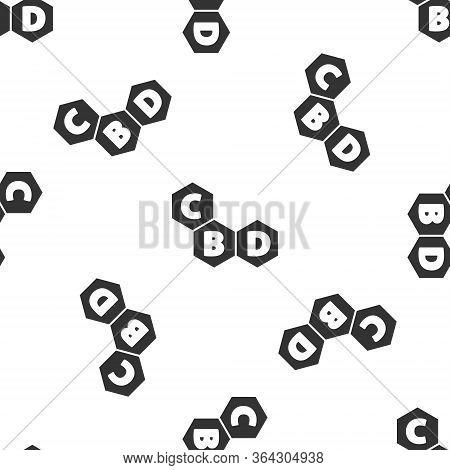 Grey Cannabis Molecule Icon Isolated Seamless Pattern On White Background. Cannabidiol Molecular Str