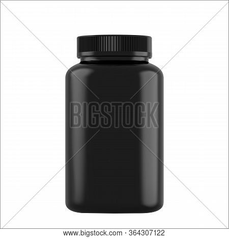 Realistic Mock Up Black Bottles For Drugs, Tablets. 3d Plastic Blank Medical Containers Isolated On