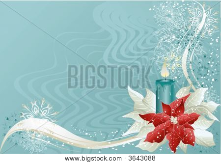 Blue Christmas Background With Candle And Christmas Star.Eps