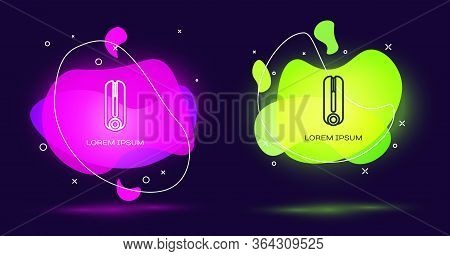 Line Curling Iron For Hair Icon Isolated On Black Background. Hair Straightener Icon. Abstract Banne
