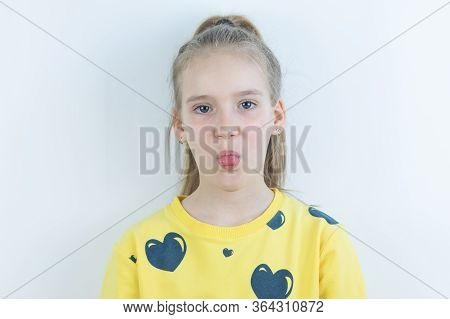 Vivid Or Colorful Workpiece With Funny, Cool, Pretty And Nice Happy Or Jolly Girl In Yellow Sweater