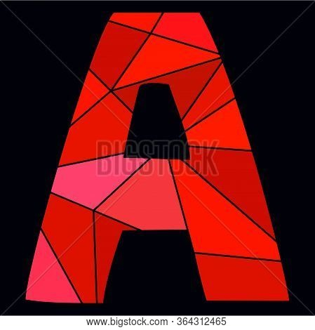 A Red Alphabet Vector Letter Isolated On Black Background