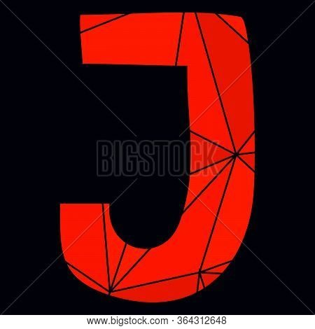 J Red Alphabet Vector Letter Isolated On Black Background