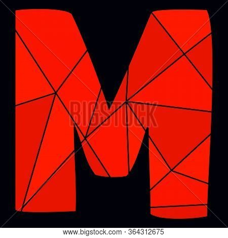 M Red Alphabet Vector Letter Isolated On Black Background