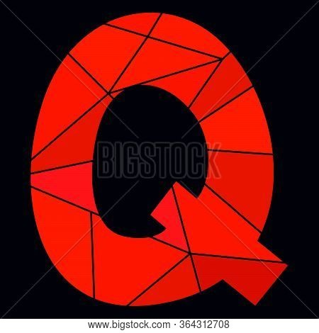 Q Red Alphabet Vector Letter Isolated On Black Background