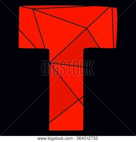 T Red Alphabet Vector Letter Isolated On Black Background