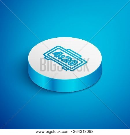Isometric Line Digital Alarm Clock Icon Isolated On Blue Background. Electronic Watch Alarm Clock. T