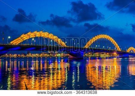 Night View Of The Dragon Bridge In Da Nang, Vietnam