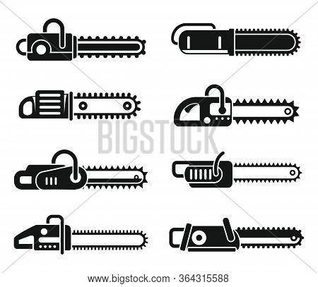 Chainsaw Blade Icons Set. Simple Set Of Chainsaw Blade Vector Icons For Web Design On White Backgrou