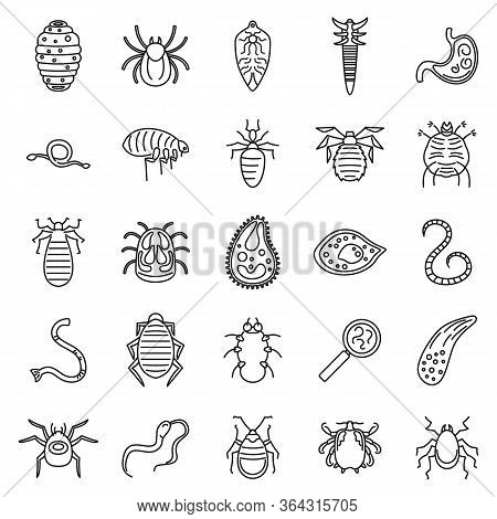 Parasite Insect Icons Set. Outline Set Of Parasite Insect Vector Icons For Web Design Isolated On Wh