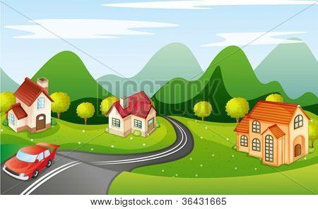 illustration of a car running on road