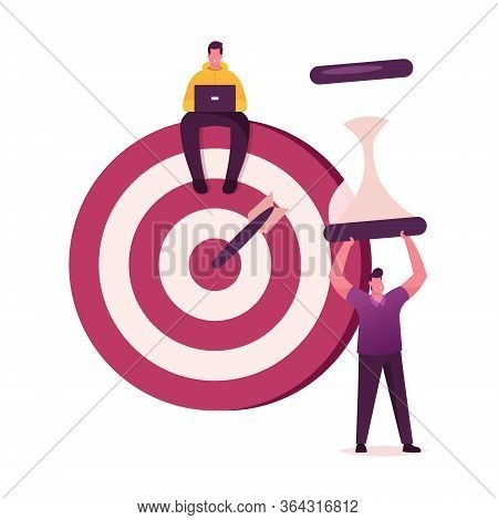 Priorities Organize. Businessmen Characters Sit On Huge Target With Arrow In Bullseye And Hold Hourg