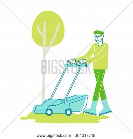 Man Character Mow Lawn In Garden Or Public City Park. Gardener Or Worker Pushing Lawn Mower Machine