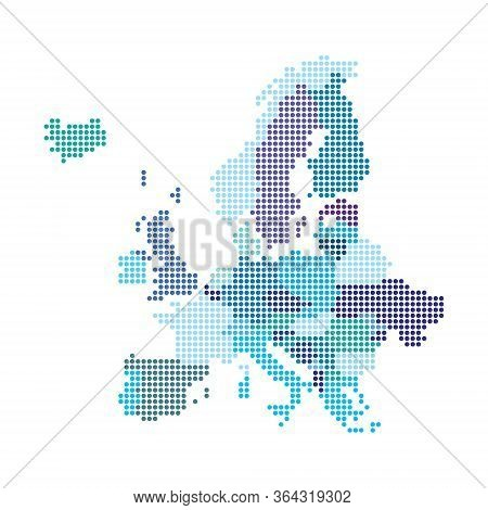 Europe Map Made From Halftone Dot Pattern