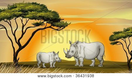 illustration of two rhinocerous under the tree