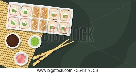 Set Of Sushi And Rolls On A Wooden Board With Soy Sauce, Wasabi And Ginger. Japanese Food. Vector Te