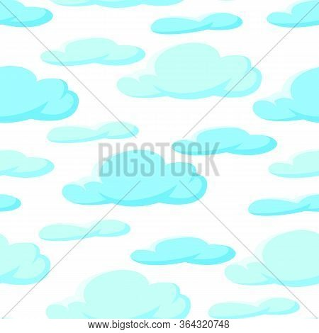 Seamless Pattern With Blue Clouds. Cartoon Illustration Of Overcast Sky.