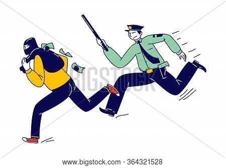 Male Police Officer At Work Catching Masked Robber With Money Sack To Arrest. Policeman On Duty, Cit