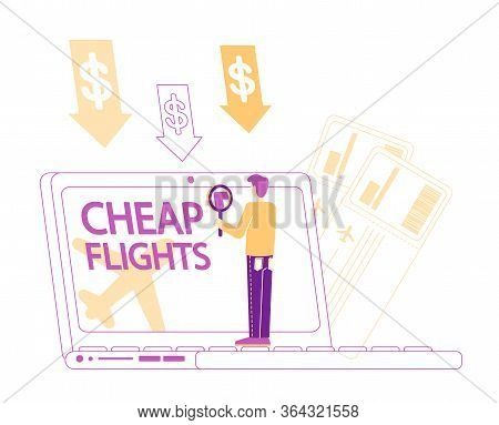 Cheap Flight Special Offer, Low Cost Airline Discounter Concept. Tiny Male Character Buying Airplane