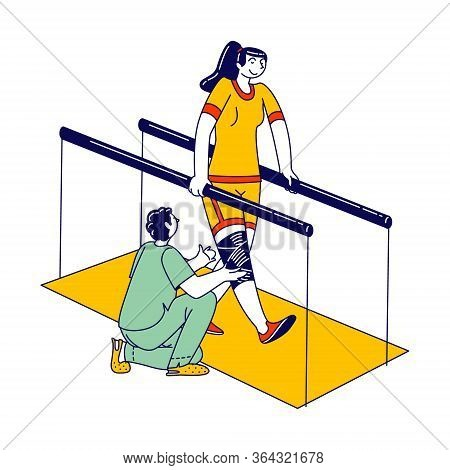 Physical Development For Handicapped People. Rehabilitation Center Staff Character Help Girl With Ba