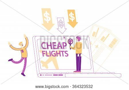 Cheap Flight, Economy Travel, Tourism, Special Offer, Low Cost Airline Discounter. Tiny Male Charact