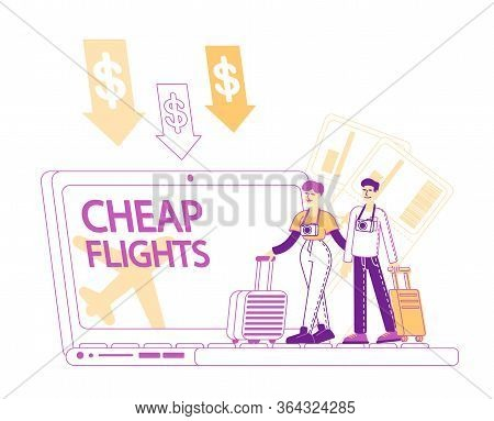 Tiny People With Luggage Book Cheap Flight, Saving Vacation Budget Concept. Male And Female Couple C